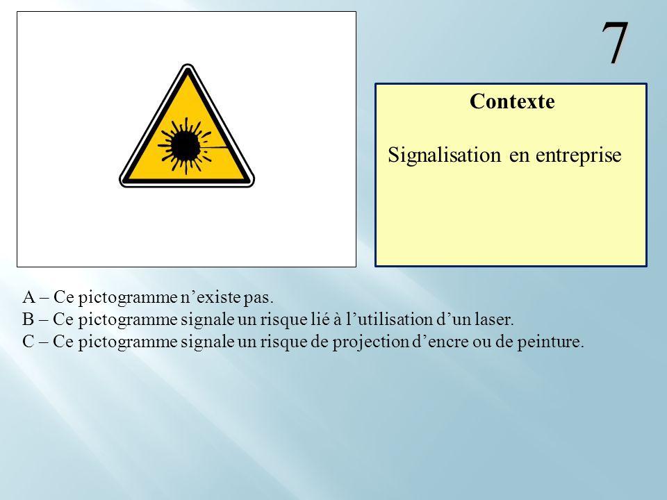 7 A – Ce pictogramme nexiste pas. B – Ce pictogramme signale un risque lié à lutilisation dun laser. C – Ce pictogramme signale un risque de projectio