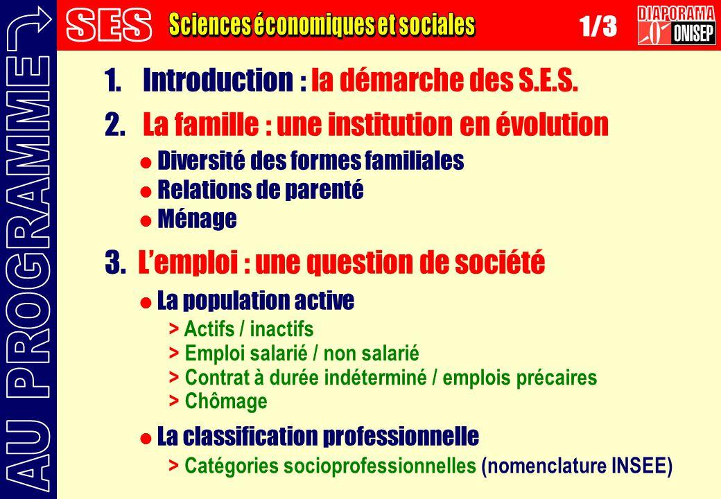 1. Introduction : la démarche des S.E.S. 2. La famille : une institution en évolution 3.Lemploi : une question de société Diversité des formes familia