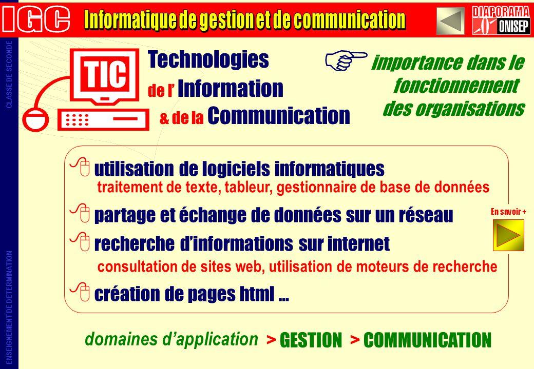 importance dans le fonctionnement des organisations domaines dapplication > GESTION > COMMUNICATION traitement de texte, tableur, gestionnaire de base