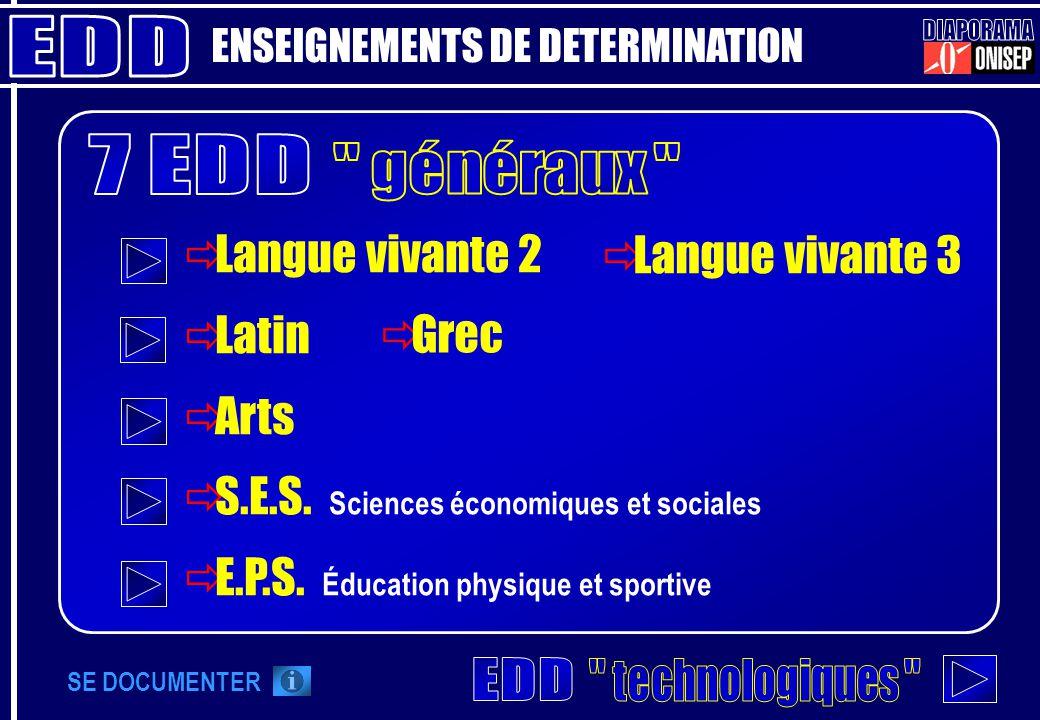 Langue vivante 2 Latin Arts S.E.S. Sciences économiques et sociales E.P.S. Éducation physique et sportive ENSEIGNEMENTS DE DETERMINATION Langue vivant
