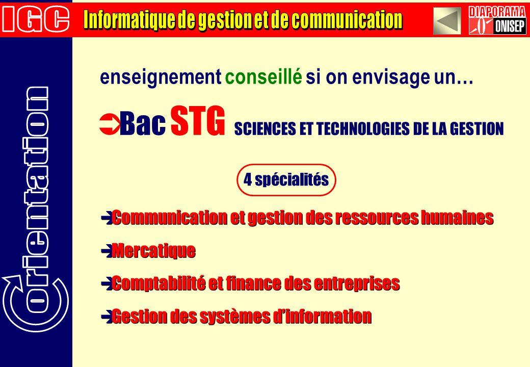 enseignement conseillé si on envisage un… Bac STG SCIENCES ET TECHNOLOGIES DE LA GESTION 4 spécialités Communication et gestion des ressources humaine