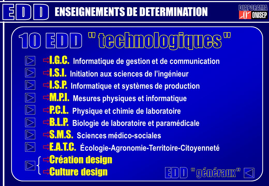 ENSEIGNEMENTS DE DETERMINATION I.G.C. Informatique de gestion et de communication I.S.I. Initiation aux sciences de lingénieur I.S.P. Informatique et