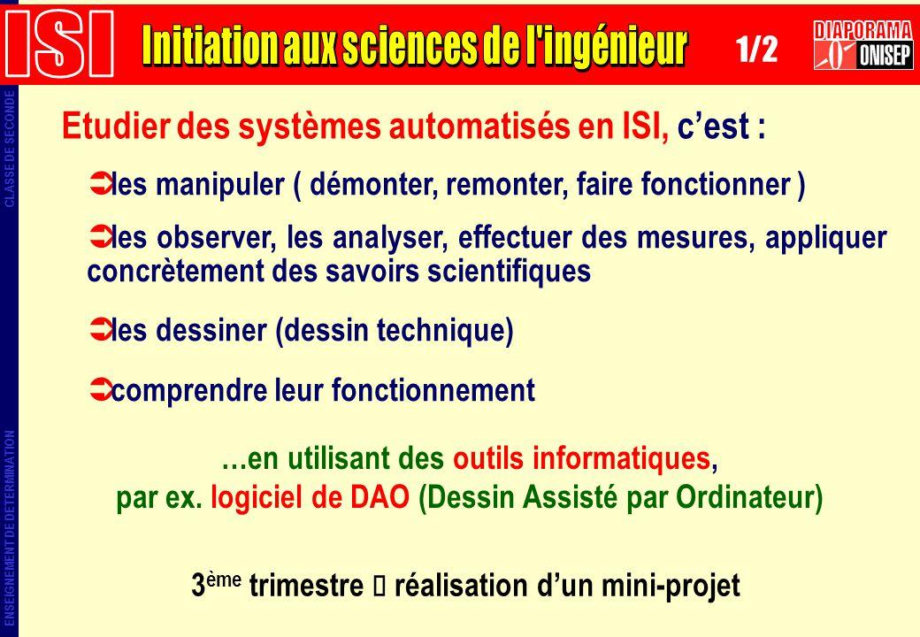 ENSEIGNEMENT DE DETERMINATION CLASSE DE SECONDE Etudier des systèmes automatisés en ISI, cest : les manipuler ( démonter, remonter, faire fonctionner