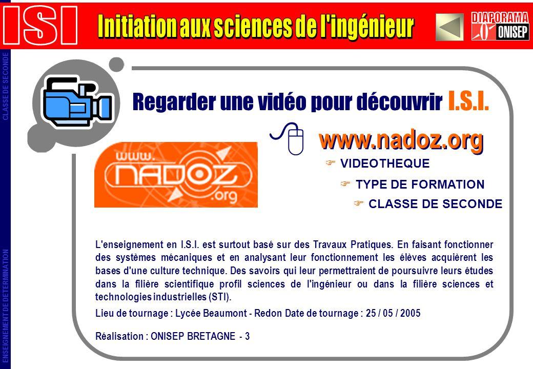 ENSEIGNEMENT DE DETERMINATION CLASSE DE SECONDE Regarder une vidéo pour découvrir I.S.I. www.nadoz.org TYPE DE FORMATION VIDEOTHEQUE CLASSE DE SECONDE