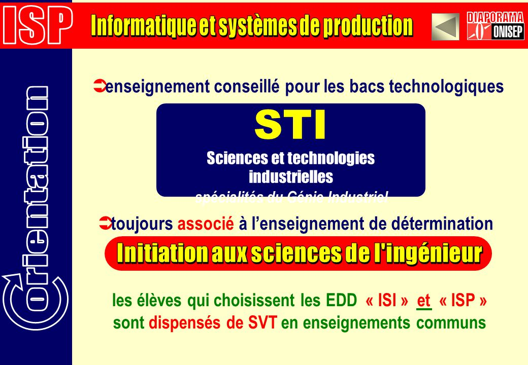 enseignement conseillé pour les bacs technologiques STI Sciences et technologies industrielles spécialités du Génie Industriel toujours associé à lenseignement de détermination les élèves qui choisissent les EDD « ISI » et « ISP » sont dispensés de SVT en enseignements communs