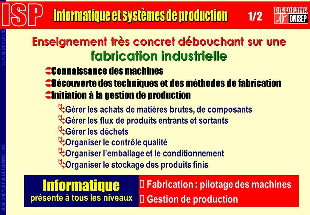 ENSEIGNEMENT DE DETERMINATION CLASSE DE SECONDE Enseignement très concret débouchant sur une fabrication industrielle Informatique présente à tous les