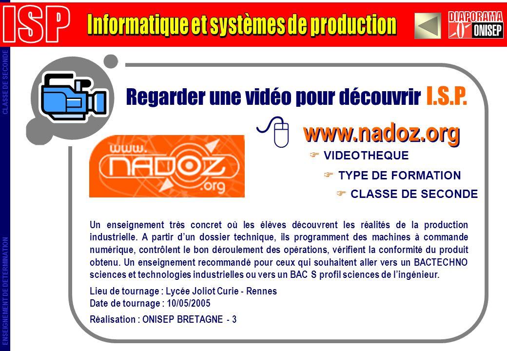 ENSEIGNEMENT DE DETERMINATION CLASSE DE SECONDE Regarder une vidéo pour découvrir I.S.P. www.nadoz.org TYPE DE FORMATION VIDEOTHEQUE CLASSE DE SECONDE
