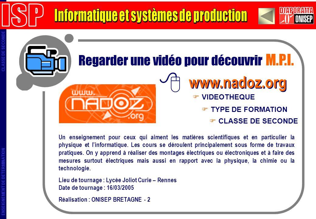 ENSEIGNEMENT DE DETERMINATION CLASSE DE SECONDE Regarder une vidéo pour découvrir M.P.I. www.nadoz.org TYPE DE FORMATION VIDEOTHEQUE CLASSE DE SECONDE