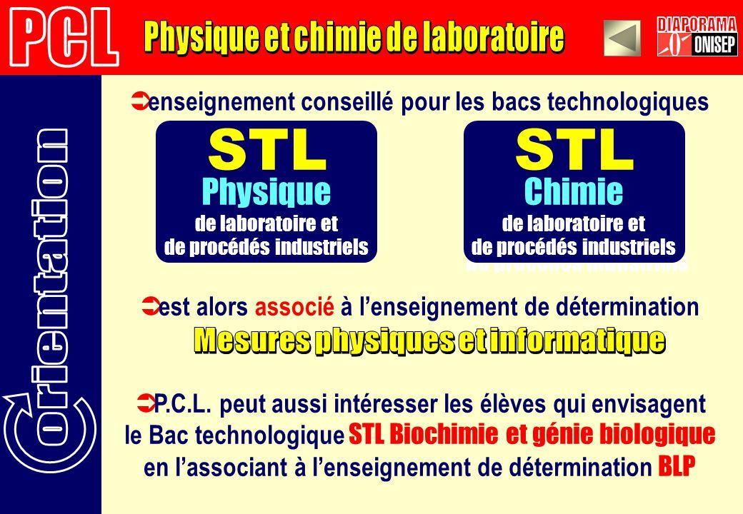 enseignement conseillé pour les bacs technologiques STL Physique de laboratoire et de procédés industriels STL Chimie de laboratoire et de procédés industriels est alors associé à lenseignement de détermination STL Chimie de laboratoire et de procédés industriels P.C.L.