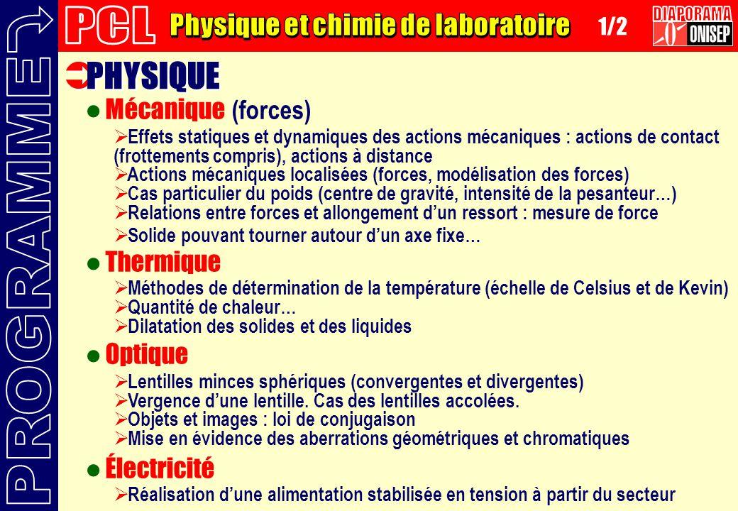 PHYSIQUE Mécanique (forces) Thermique Optique Électricité Effets statiques et dynamiques des actions mécaniques : actions de contact (frottements comp