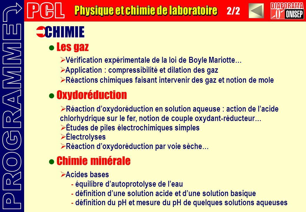 CHIMIE Les gaz Oxydoréduction Chimie minérale Vérification expérimentale de la loi de Boyle Mariotte… Application : compressibilité et dilation des ga