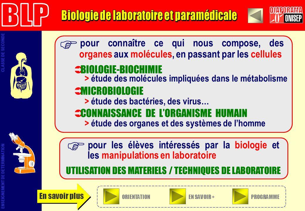 pour connaître ce qui nous compose, des organes aux molécules, en passant par les cellules pour les élèves intéressés par la biologie et les manipulations en laboratoire BIOLOGIE-BIOCHIMIE > étude des molécules impliquées dans le métabolisme MICROBIOLOGIE > étude des bactéries, des virus… CONNAISSANCE DE LORGANISME HUMAIN > étude des organes et des systèmes de lhomme UTILISATION DES MATERIELS / TECHNIQUES DE LABORATOIRE ORIENTATION EN SAVOIR +PROGRAMME ENSEIGNEMENT DE DETERMINATION CLASSE DE SECONDE En savoir plus
