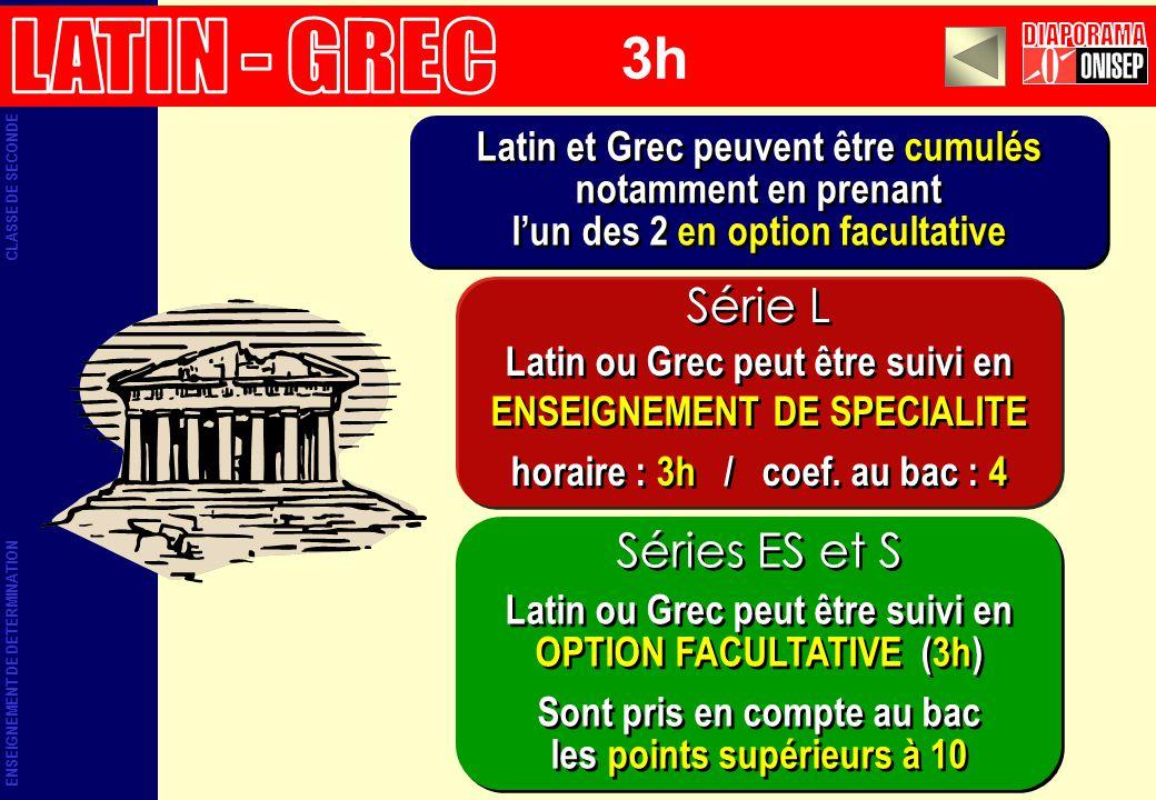 Latin et Grec peuvent être cumulés notamment en prenant lun des 2 en option facultative Latin et Grec peuvent être cumulés notamment en prenant lun de