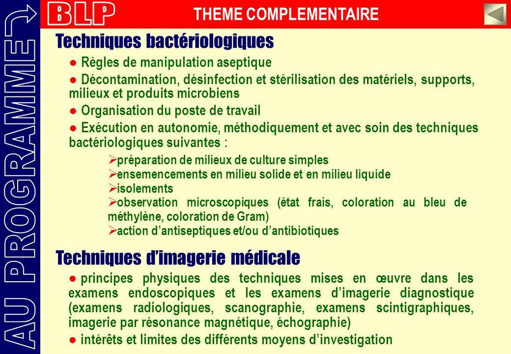 Règles de manipulation aseptique Décontamination, désinfection et stérilisation des matériels, supports, milieux et produits microbiens Organisation d