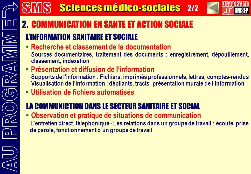 2/2 2. COMMUNICATION EN SANTE ET ACTION SOCIALE LINFORMATION SANITAIRE ET SOCIALE Recherche et classement de la documentation Sources documentaires, t