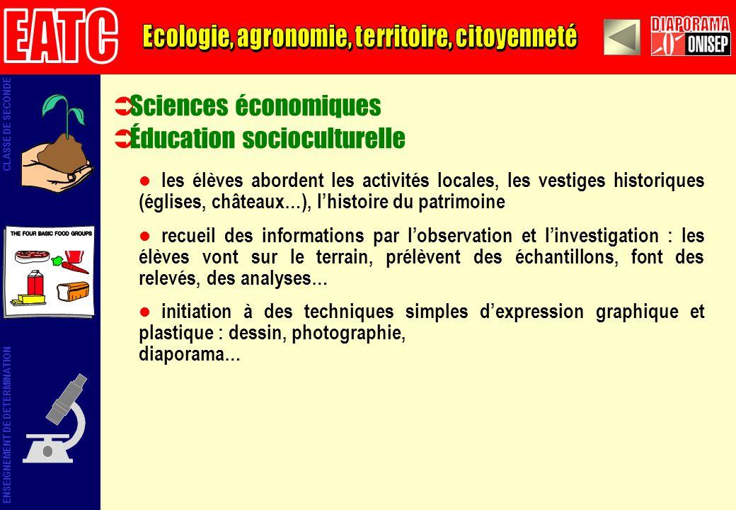 Sciences économiques Éducation socioculturelle les élèves abordent les activités locales, les vestiges historiques (églises, châteaux…), lhistoire du