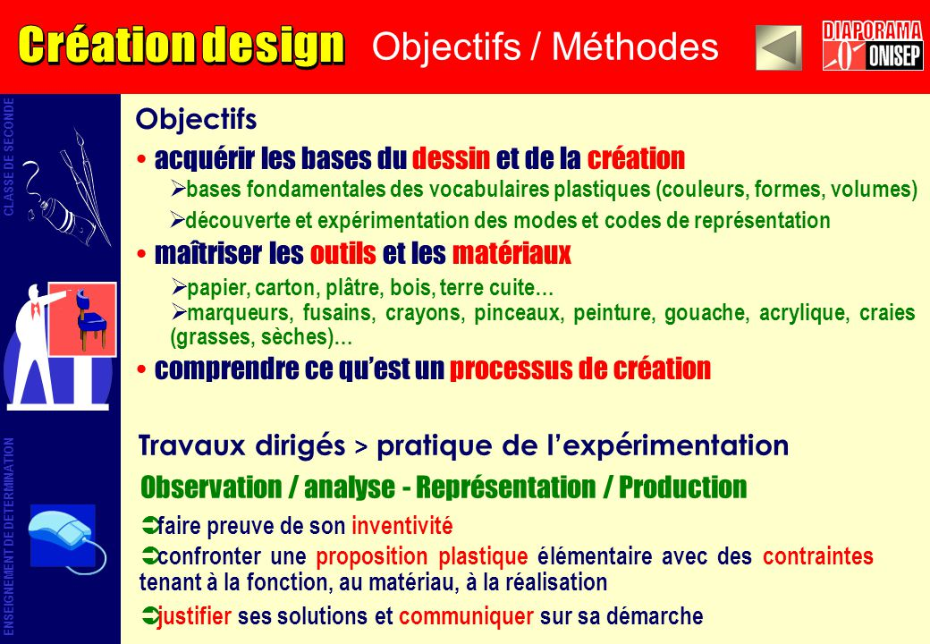 Objectifs / Méthodes Objectifs acquérir les bases du dessin et de la création maîtriser les outils et les matériaux comprendre ce quest un processus d