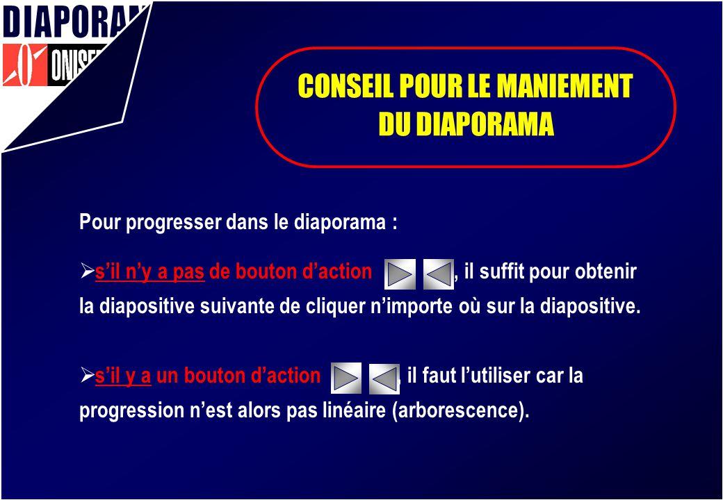 CONSEIL POUR LE MANIEMENT DU DIAPORAMA Pour progresser dans le diaporama : sil ny a pas de bouton daction, il suffit pour obtenir la diapositive suiva
