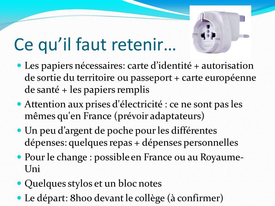 Ce quil faut retenir… Les papiers nécessaires: carte didentité + autorisation de sortie du territoire ou passeport + carte européenne de santé + les p