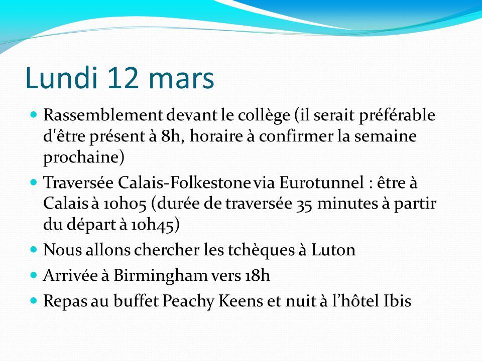Mardi 13 mars 7h45 : petit déjeuner 9h : accueil et présentation du collège 10h : conférences sur le programme européen COMENIUS 13h : déjeuner à la cantine 13h30 : travail en groupe 15h00 : visite de la ville + centre commercial Bullring 18h30 : diner au restaurant Nuit à lhôtel