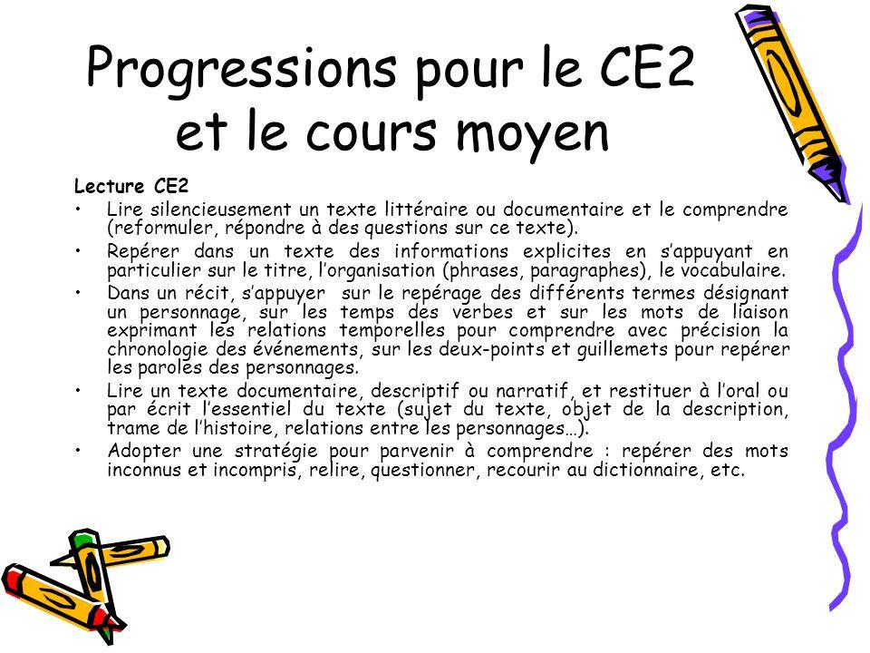 Progressions pour le CE2 et le cours moyen Lecture CE2 Lire silencieusement un texte littéraire ou documentaire et le comprendre (reformuler, répondre à des questions sur ce texte).