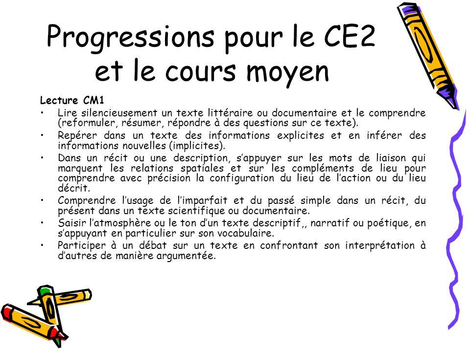 Progressions pour le CE2 et le cours moyen Lecture CM1 Lire silencieusement un texte littéraire ou documentaire et le comprendre (reformuler, résumer, répondre à des questions sur ce texte).