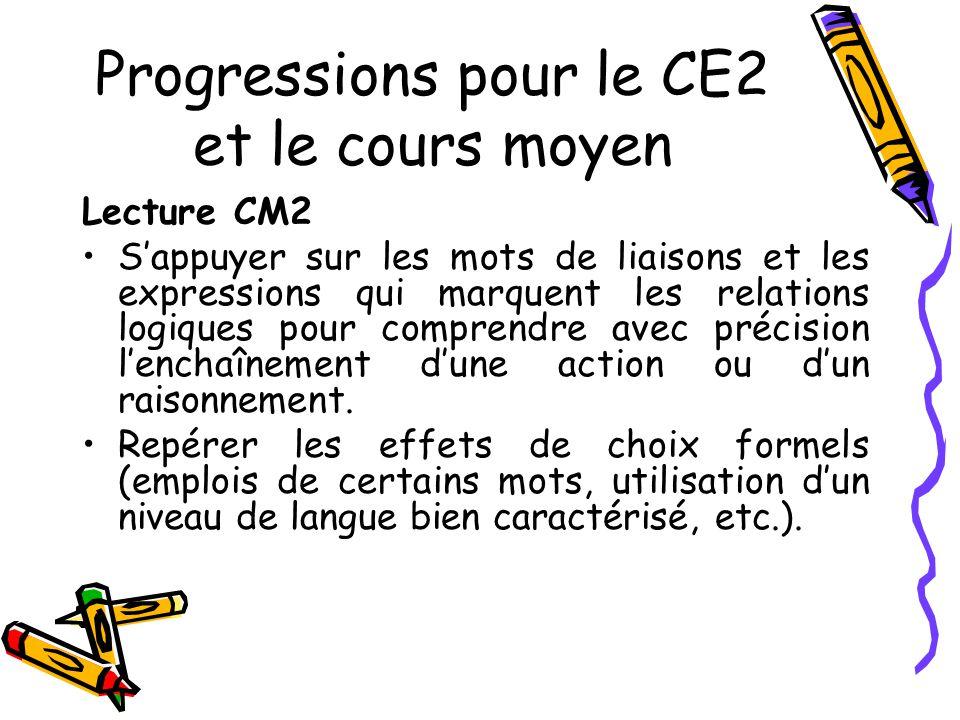 Progressions pour le CE2 et le cours moyen Lecture CM2 Sappuyer sur les mots de liaisons et les expressions qui marquent les relations logiques pour comprendre avec précision lenchaînement dune action ou dun raisonnement.
