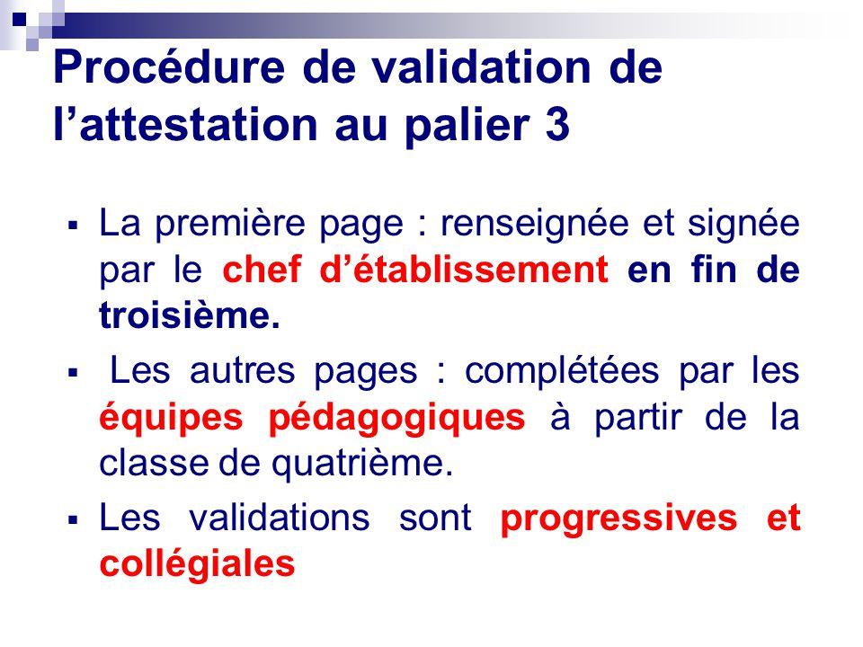 Procédure de validation de lattestation au palier 3 La première page : renseignée et signée par le chef détablissement en fin de troisième. Les autres