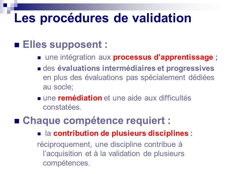 Les procédures de validation Elles supposent : une intégration aux processus dapprentissage ; des évaluations intermédiaires et progressives en plus d