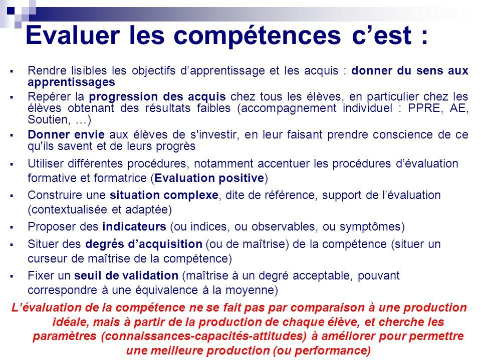 Evaluer les compétences cest : Rendre lisibles les objectifs dapprentissage et les acquis : donner du sens aux apprentissages Repérer la progression d