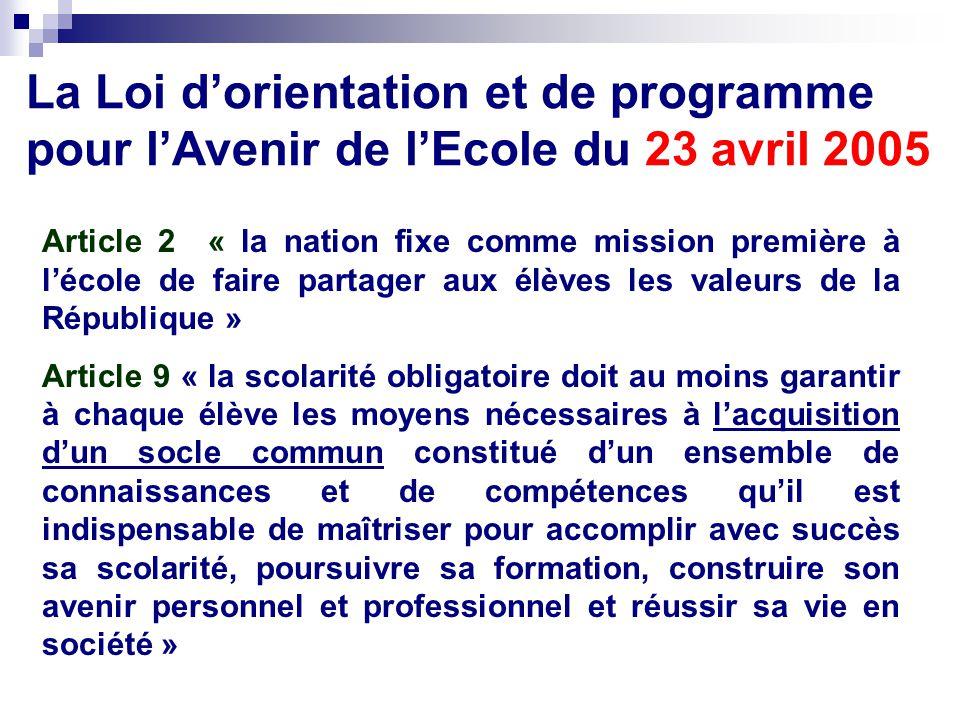 La Loi dorientation et de programme pour lAvenir de lEcole du 23 avril 2005 Article 2 « la nation fixe comme mission première à lécole de faire partag