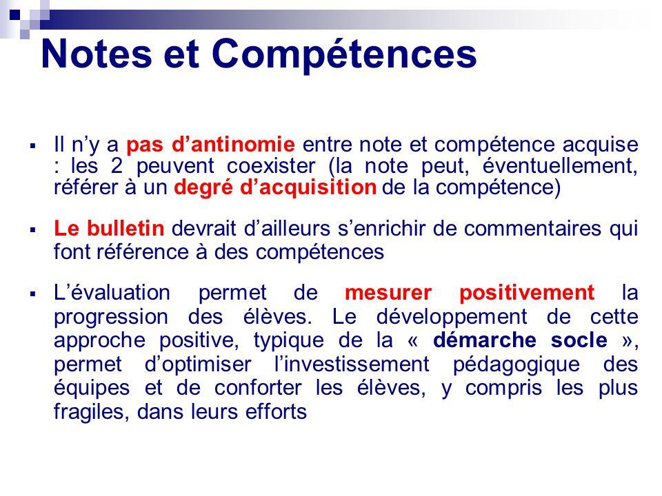 Notes et Compétences Il ny a pas dantinomie entre note et compétence acquise : les 2 peuvent coexister (la note peut, éventuellement, référer à un deg