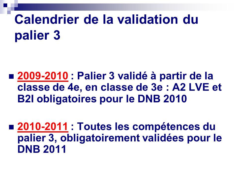 Calendrier de la validation du palier 3 2009-2010 : Palier 3 validé à partir de la classe de 4e, en classe de 3e : A2 LVE et B2I obligatoires pour le