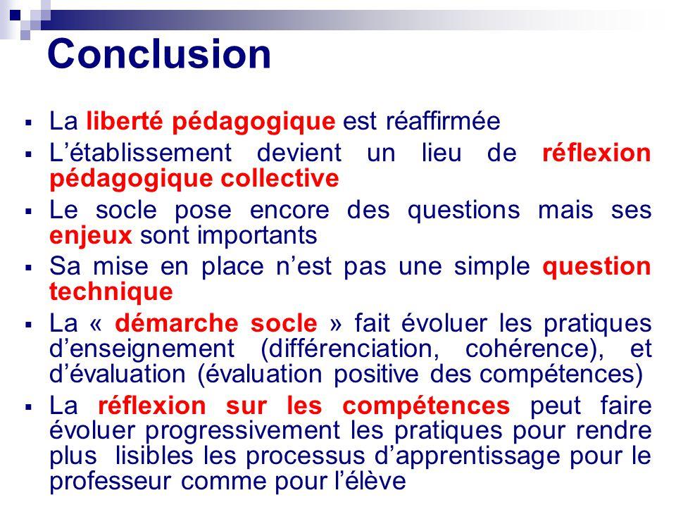 Conclusion La liberté pédagogique est réaffirmée Létablissement devient un lieu de réflexion pédagogique collective Le socle pose encore des questions