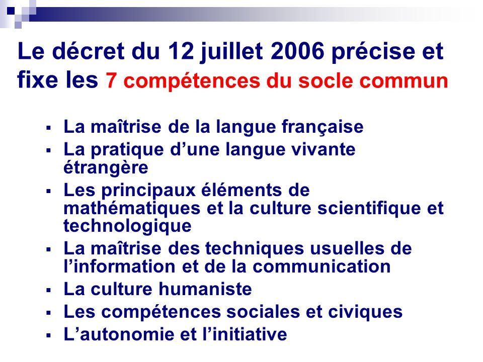 Le décret du 12 juillet 2006 précise et fixe les 7 compétences du socle commun La maîtrise de la langue française La pratique dune langue vivante étra