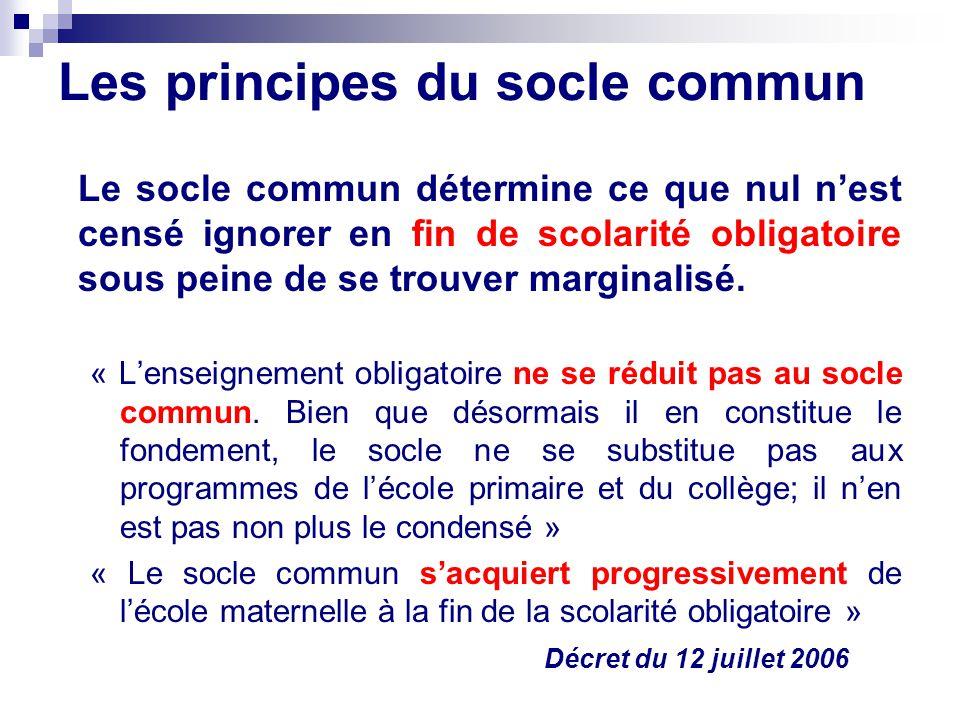 Les principes du socle commun Le socle commun détermine ce que nul nest censé ignorer en fin de scolarité obligatoire sous peine de se trouver margina