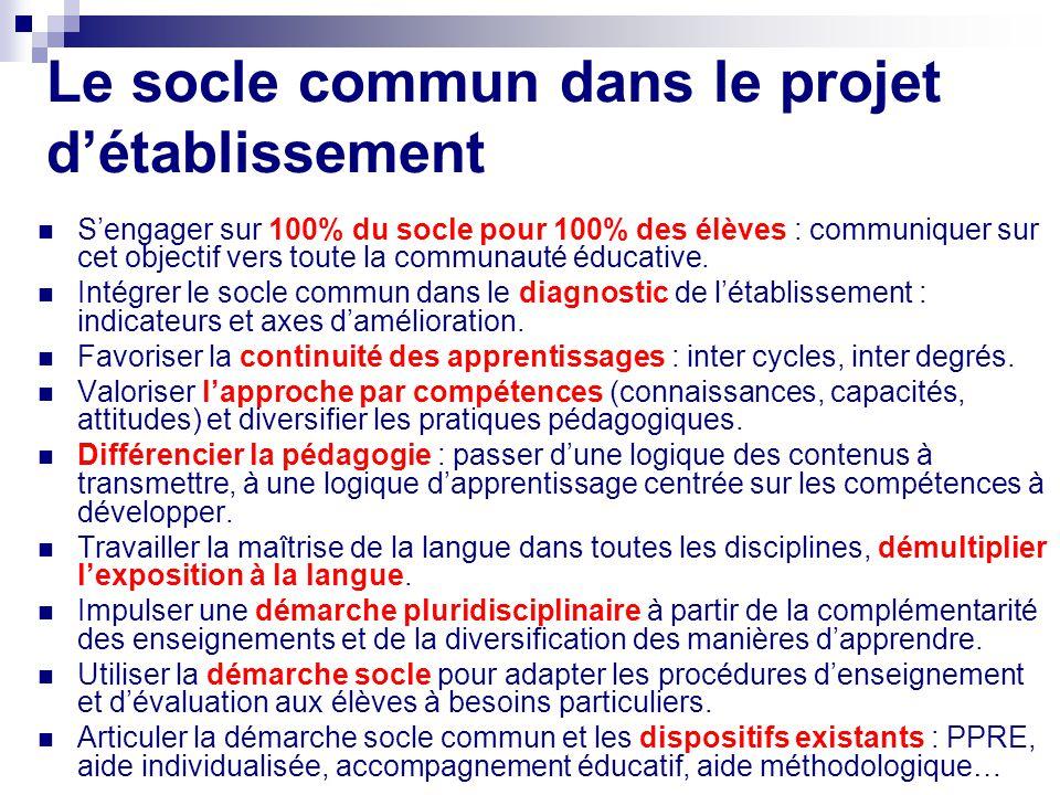 Le socle commun dans le projet détablissement Sengager sur 100% du socle pour 100% des élèves : communiquer sur cet objectif vers toute la communauté