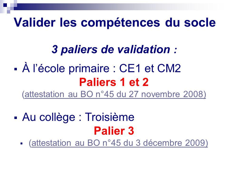 Valider les compétences du socle 3 paliers de validation : À lécole primaire : CE1 et CM2 Paliers 1 et 2 (attestation au BO n°45 du 27 novembre 2008)a