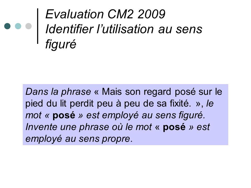 Evaluation CM2 2009 Identifier lutilisation au sens figuré Dans la phrase « Mais son regard posé sur le pied du lit perdit peu à peu de sa fixité. »,