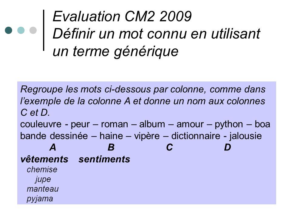 Evaluation CM2 2009 Définir un mot connu en utilisant un terme générique Regroupe les mots ci-dessous par colonne, comme dans lexemple de la colonne A