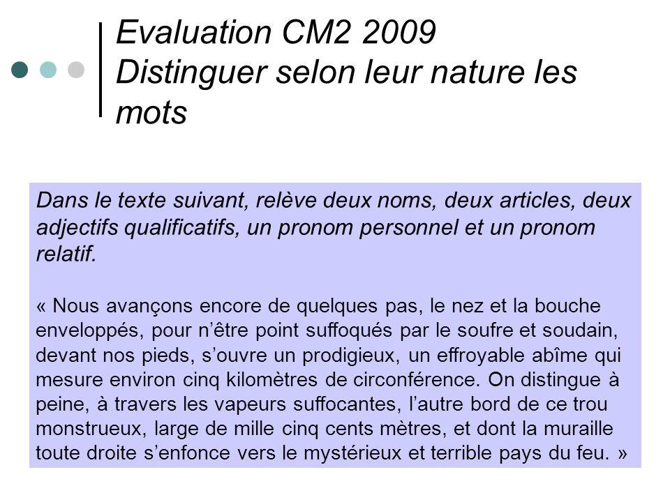 Evaluation CM2 2009 Distinguer selon leur nature les mots Dans le texte suivant, relève deux noms, deux articles, deux adjectifs qualificatifs, un pro