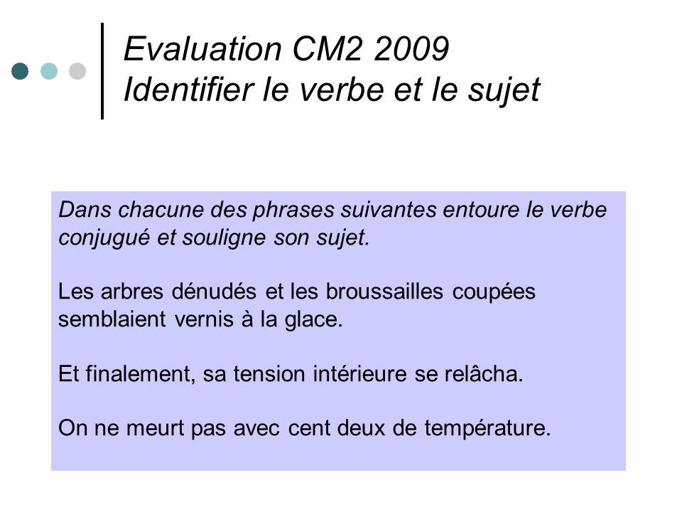 Evaluation CM2 2009 Identifier le verbe et le sujet Dans chacune des phrases suivantes entoure le verbe conjugué et souligne son sujet. Les arbres dén