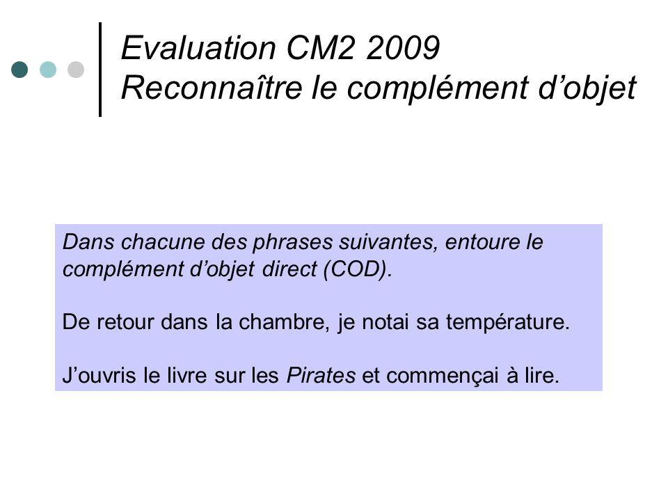 Evaluation CM2 2009 Reconnaître le complément dobjet Dans chacune des phrases suivantes, entoure le complément dobjet direct (COD). De retour dans la