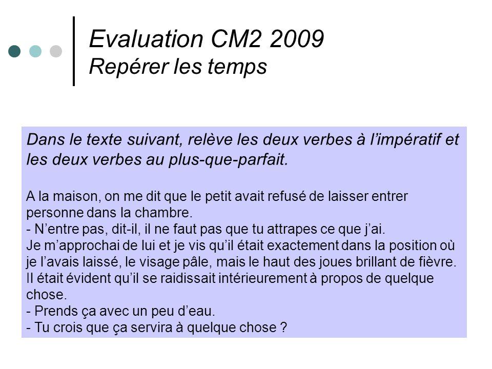 Evaluation CM2 2009 Repérer les temps Dans le texte suivant, relève les deux verbes à limpératif et les deux verbes au plus-que-parfait. A la maison,