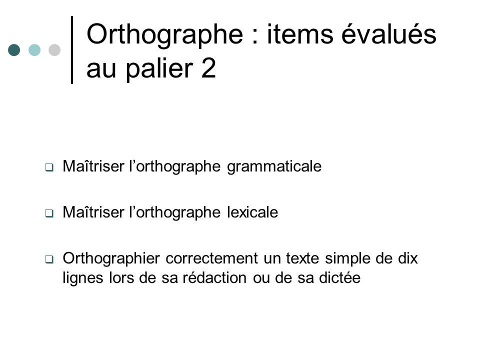 Orthographe : items évalués au palier 2 Maîtriser lorthographe grammaticale Maîtriser lorthographe lexicale Orthographier correctement un texte simple