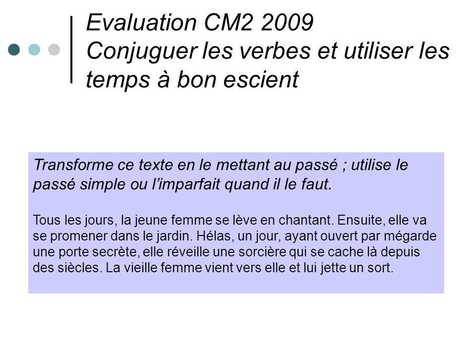 Evaluation CM2 2009 Conjuguer les verbes et utiliser les temps à bon escient Transforme ce texte en le mettant au passé ; utilise le passé simple ou l