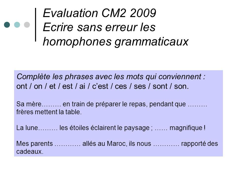 Evaluation CM2 2009 Ecrire sans erreur les homophones grammaticaux Complète les phrases avec les mots qui conviennent : ont / on / et / est / ai / ces