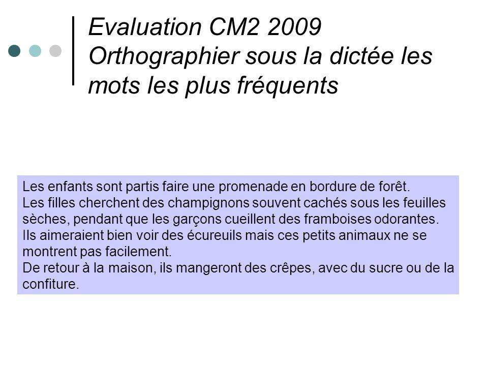 Evaluation CM2 2009 Orthographier sous la dictée les mots les plus fréquents Les enfants sont partis faire une promenade en bordure de forêt. Les fill