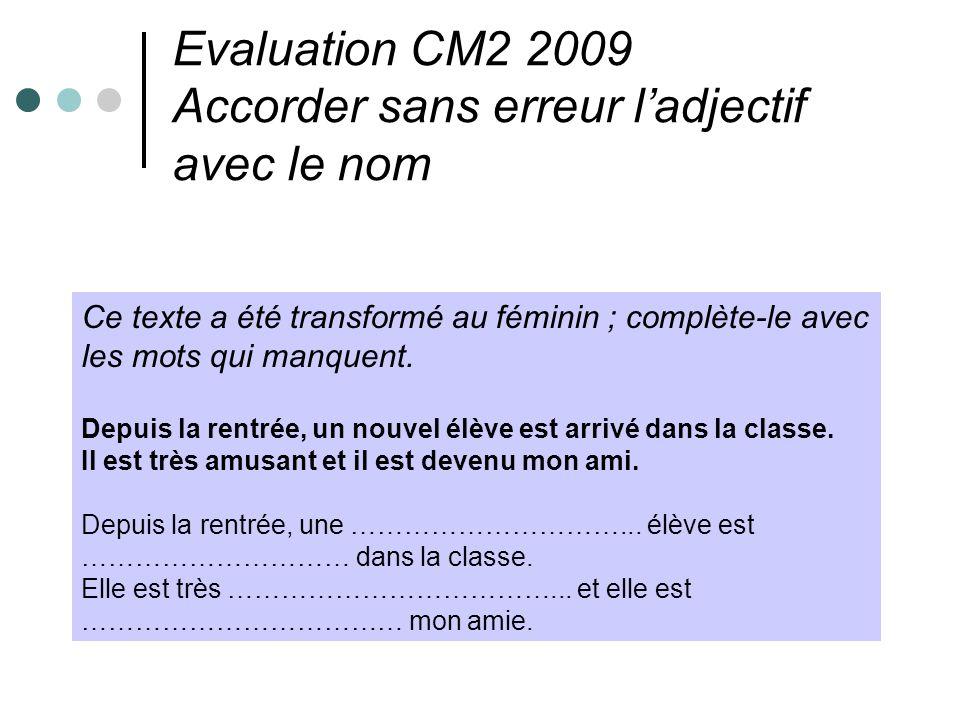 Evaluation CM2 2009 Accorder sans erreur ladjectif avec le nom Ce texte a été transformé au féminin ; complète-le avec les mots qui manquent. Depuis l