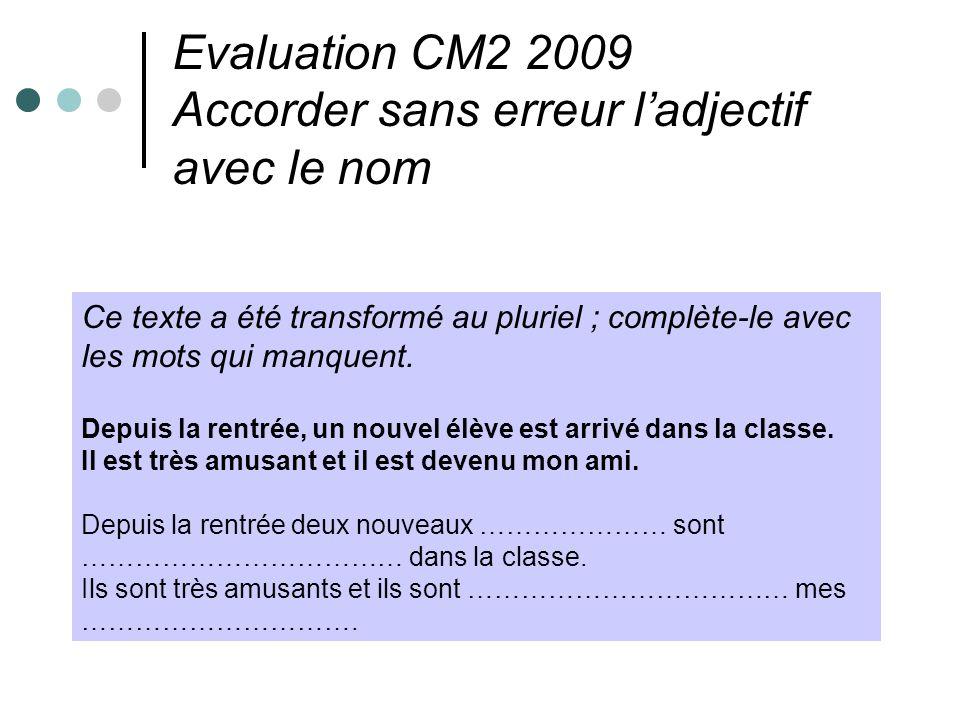 Evaluation CM2 2009 Accorder sans erreur ladjectif avec le nom Ce texte a été transformé au pluriel ; complète-le avec les mots qui manquent. Depuis l